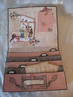 Graphic 45 A Ladies Diary Purse organizer,boxes journal projects - tutorial Video Hi everyone. I had so fun creating this di. Graphic 45, Mini Scrapbook Albums, Scrapbook Cards, Mini Albums Scrap, Scrapbook Supplies, Altered Books, Altered Art, Envelope Book, Paper Art