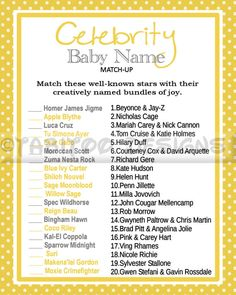 Celebrity Baby Name Match Up Game
