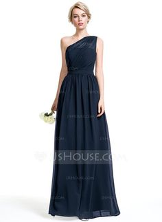 A-Line/Princess One-Shoulder Floor-Length Ruffle Zipper Up at Side Regular Straps Sleeveless No Other Colors Spring Summer Fall General Plus Chiffon Bridesmaid Dress