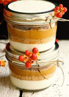 Layered Pumpkin Pie  in a jar...These are not the shelf gift in a jars they require refridgeration and are just a cute add to a basket or a wonderful way to serve pie at a gathering like the 4th of july