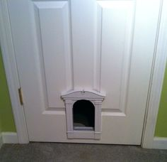Cat door into laundry room. Clean square though - made out of chair rail and & How to Install a Cat Door in a Hollow Core Door | Hollow core ... Pezcame.Com