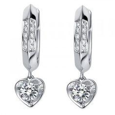 1 Carat Diamond Earrings 18K White Gold