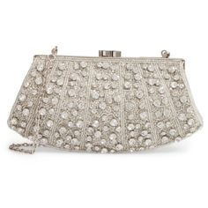 Women's Nordstrom Crystal Rivoli Clutch ($129) ❤ liked on Polyvore featuring bags, handbags, clutches, clear crystal, chain strap purse, crystal clutches, beaded purse, crystal handbags and chain strap handbag