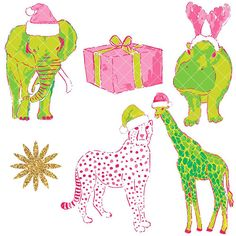 INSTANT DOWNLOAD (no physical items sent) - pink and green Lilly Pulitzer style Christmas animal clip art perfect for decorating, planner stickers, card making, digital scrapbooks, journal stickers, party supplies, web design, invitations, blogs, classroom decorations, party invitations etc. 27 x high quality 300 ppi PNG files  You can find matching digital paper repeat patterns here: https://www.etsy.com/uk/listing/563176045/instant-download-lilly-pulitzer-style...