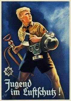 1943 poster Jugend im Luftschutz (Air Raid Protection). The boy is comprehensively well-equipped for a Luftschutz member, carrying a short-handled fire axe, a people's gas mask, a stirrup pump and a Luftschutz pattern gladiator helmet. One would hope that he had developed his muscles well in the HJ; stirrup pumps (used in conjunction with a bucker of water) would have been very hard work for a juvenile to use, on the basis of his weight alone.