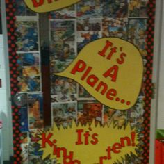 Superhero classroom door, change Kindergarten to 5th grade