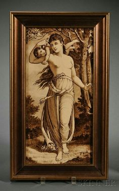 Wedgwood Underglaze Painted Thomas Allen Plaque, England, c. 1890, rectangular shape with brown enamel depiction of a semi-nude nymph holding a cupid atop her shoulders, impressed mark, 8 x 16 in.; set in a gilded wood frame.