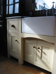 Handmade bespoke sink unit painted in Farrow and Ball. Bespoke Furniture, Handmade Furniture, Sink Units, Handmade Kitchens, Kitchen Cabinets, Home Decor, Craftsman Furniture, Decoration Home, Room Decor