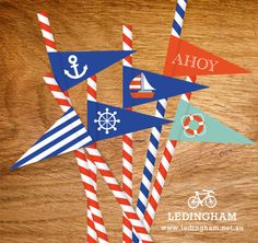 Nautical Party Straw Flags or Cupcake Toppers (DIY Printables). $5.95, via Etsy.