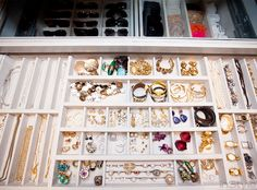 """""""This was a way to organize all my everyday jewelry,"""" she says. """"And it has a glass top, so you can see all the jewelry, watches, everything, all at the same time."""""""