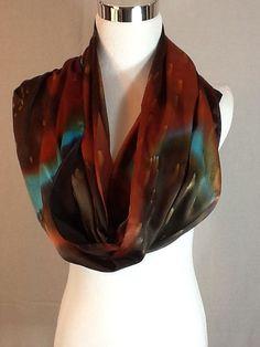 Hand painted silk scarf brown burnt orange and by MJsilkaddiction
