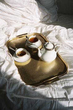 Beautiful tray and tea set morning tea.Paris may 2013 ©quentin de briey Coffee Time, Coffee Cups, Tea Cups, Morning Coffee, Coffee Coffee, Coffee Drinks, Coffee Shop, My Cup Of Tea, Breakfast In Bed