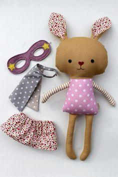 Stuffed easter bunny toy superhero rabbit plushie by LaLobaStudio