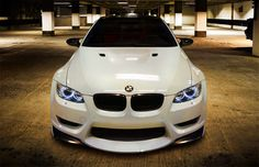 "M3 - This looks sweet, usually I don't like white cars....but this one almost looks like it's alive, sayin ""come on, bring it biotch!"""