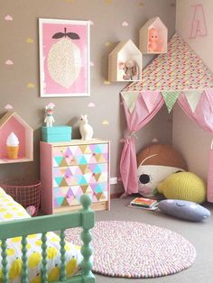 "Our handmade 100% Oobi cotton-print ""Corner Tents"" are a clever idea for small places... A magical cubby hideaway for your little dreamer! Tents can be attached"