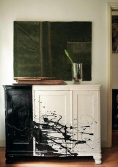 drip painted cupboard for @Olivia García Michalkiewicz