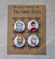 Famous Artists pin button badges magnets hand drawn by yayhooray