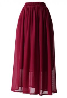 Wine Red Pleated Maxi Skirt - Skirt - Bottoms - Retro, Indie and Unique Fashion