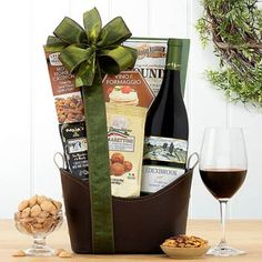 Wine Gift Baskets - Pinot Noir Holiday Wine Tote Wine Gift Baskets, Gourmet Gift Baskets, Wine Tote, Almond Cookies, Thanksgiving Gifts, Better Together, Pinot Noir, Red Wine, Alcoholic Drinks