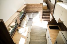 a tiny house built by Eco Tiny House with a unique concept designed by Gabriela Isadora Big Windows, House Built, Contemporary Design, Designer, Building A House, Living Spaces, Stairs, Luxury, Modern