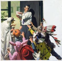 Original artwork by Tom Lovell, Arthur B. Frost, others, plus comic art at Philip Weiss Auctions, Sept. Art And Illustration, Halloween Art, Vintage Halloween, Halloween Scene, Happy Halloween, Tom Lovell, Commercial Art, Pulp Art, Vintage Art