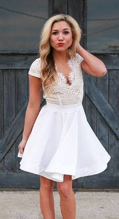 A-Line V-Neck Cap Sleeves Open Back White Homecoming Dress,Short Homecoming Dresses