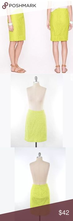 """J.Crew citrine eyelet No. 2 pencil skirt Classy No. 2 pencil skirt from J.Crew. This staple closet piece gets a fun twist with an embroidered eyelet overlay and a bright, neon yellow/citrine color. Fully lined, slit in back hem. Hidden back zipper closure. 100% cotton. Size 0/XS. Please see measurements before bidding.  Waist: 28"""" Hip: 34"""" Length: 22"""" Follow me on Instagram @prothrift_er J. Crew Skirts Pencil"""