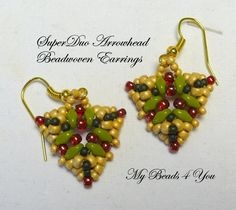 Bead Woven Earrings Seed Bead Earrings Beaded by mybeads4you, $25.00