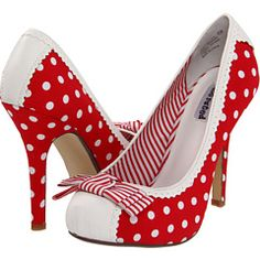 Cute!!!  They're red, have polka dots, stripes AND scallops.  These shoes may be perfect...
