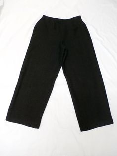 NWOT EILEEN FISHER Sz S BLACK LINEN/COTTON WIDE LEG CROPPED PANTS  #EileenFisher #CaprisCropped