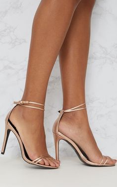 1c0fc0c2ffd Rose Gold Patent Double Strap Heeled Sandals