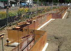 Basement steel beam lolly column under construction for Foam form concrete construction