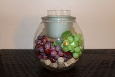 Partylite Clearly Creative Glolite Jar candle holder with faux red and green grapes and wine corks.