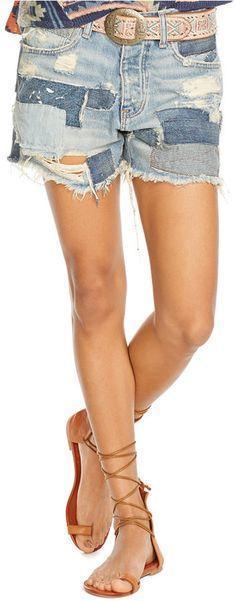 Denim & Supply Ralph Lauren Patched Cut-Off Shorts, Prineville Wash