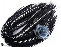 Full Set Wool Dreadlocks  Black & White  DE