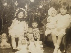 Vintage Old Super Photo Little GIRL 8 DOLL Toys CHRISTMAS TREE Ornaments c1930s
