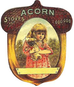 Free Vintage Fall Clip Art - Girl with Puppy and Acorn - The Graphics Fairy...