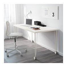 IKEA - LINNMON, Tischplatte, weiß, , Vorgebohrte Löcher für die Beine; leichte…