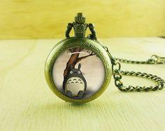 Totoro mens pocket watch por aplaceintimehere en Etsy