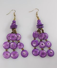 Take a look at this Purple Button Bead Drop Earrings  by Majestic on #zulily today!