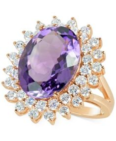 This oval-cut amethyst ct.) comes together with these brilliant-cut diamonds ct.), for breathtaking sparkle on this elegant cocktail ring. Set in rose gold. Pink Gold Rings, Amethyst And Diamond Ring, Gold Rings Jewelry, Purple Jewelry, Amethyst Jewelry, Diamond Pendant, Diamond Jewelry, Women's Rings, Diamond Rings