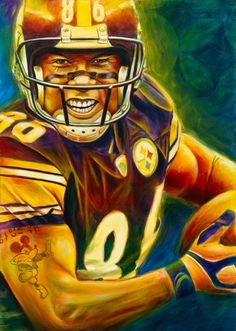 Purchase football paintings from Scott Spillman. Pittsburgh Steelers Wallpaper, Pittsburgh Steelers Players, Steelers Pics, Football Team, Football Helmets, Football Pics, Pittsburgh Sports, Football Cards, Super Bowl
