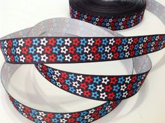 1 red white & blue star print grosgrain by BoutiqueSuppliesCo, $1.15
