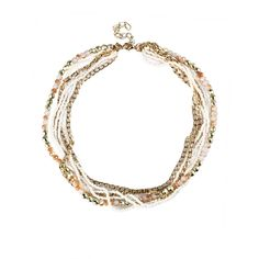 Rhinestone Beads Six Strand Peach Party Necklace