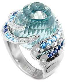 Diamond, Sapphire, Blue Topaz Ring. Blue topaz in my birth stone. This is so original!