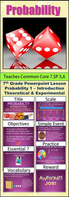 Seventh Grade Probability 1 - Theoretical & Experimental Probability explains the difference between the two and gives examples of problems in both. The simple event is stressed the most in this lesson along with using the scale of probability to predict the likelihood of an event happening.