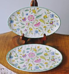Two Minton 'Haddon Hall' Plates, Small Oval Platters, 8 Inch Oval Trays Scalloped Edge, Christmas Sale, My Etsy Shop, Plates, Trays, Tableware, Handmade, Gift Ideas, Dining