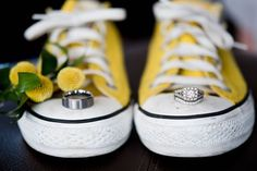 Yellow wedding ideas: yellow Converse + wedding rings + yellow Billy Balls. // Seven Bridges Golf Club | Elizabeth Nord Photography