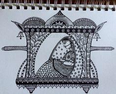 Art Drawings Sketches Simple, Dark Art Drawings, Girly Drawings, Canvas Painting Designs, Worli Painting, Flower Art Drawing, Doodle Art Drawing, Mandala Art Lesson, Mandala Artwork