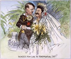 """Wonder How Long the Honeymoon Will Last"" A political cartoon drawn by Clifford K. Barrymen in 1939, it satirized the Molotov-Ribbentrop Pac..."